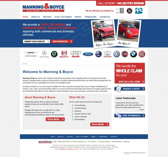 Manning & Boyce - Home Page Screenshot