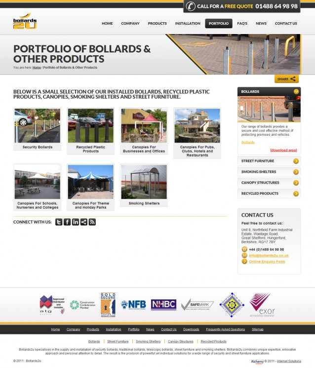 Bollards2u - Portfolio Page Screenshot