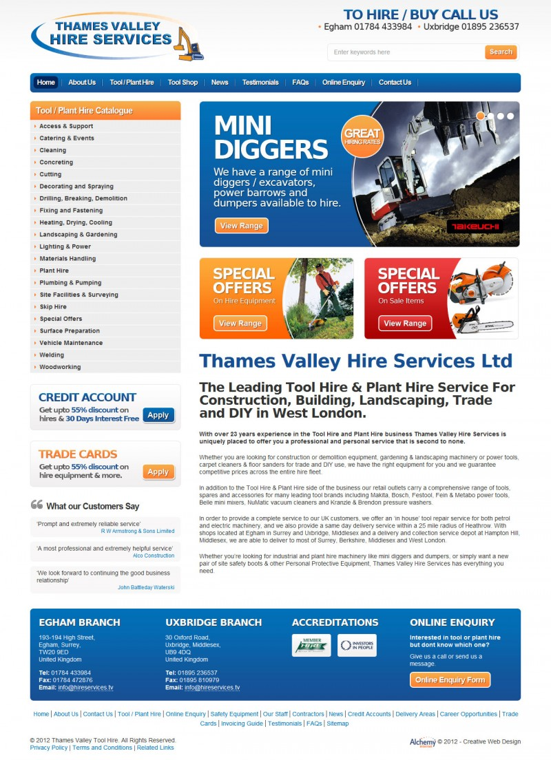 Thames Valley Hire Services - Home